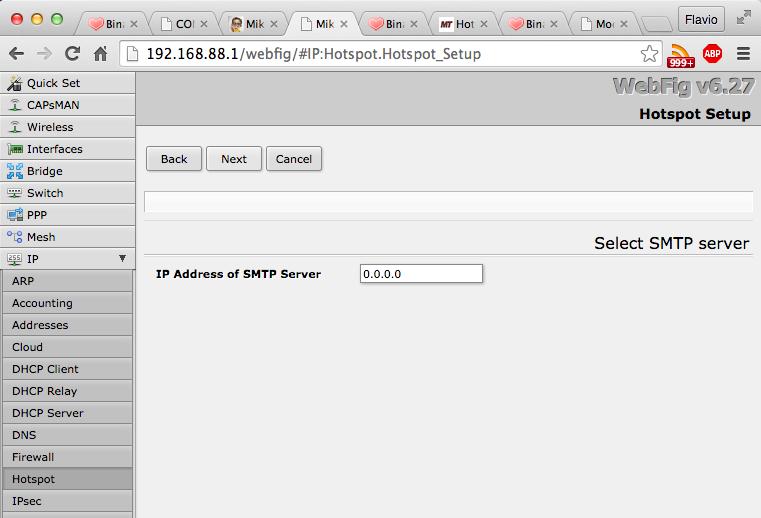Indirizzo del server SMPT